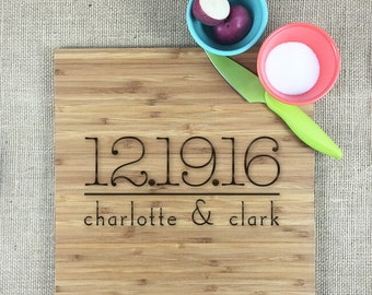 Personalized Wedding Cutting Board, Engraved Wedding Or Anniversary Date, Bride And Groom Names, Bamboo Cutting Board, Wood Anniversary Gift