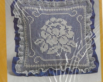 1980s Creative Circle Kit 0471 Lace Net Darning Pillow Kit Blue Garden Beauty Designed by Margery Young UnOpened