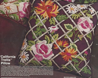 California Trellis Pillow Kit Designed by Julie Nixon Eisenhower Crewel Embroidery Pillow Kit Paragon Kit A5003 Birthday Gift for Her