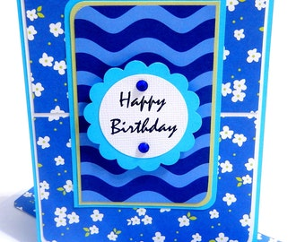 Happy Birthday Card with Matching Embellished Envelope- Floral