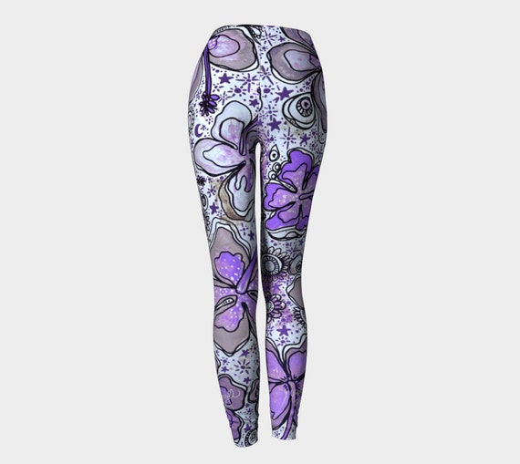 Amethyst Tropical Hibiscus Surf Yoga SUP Leggings and Capris by Lauren Tannehill Art