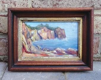 Vintage Original 1950's Impressionism Coastal Seascape Oil Painting on board - NICE!!