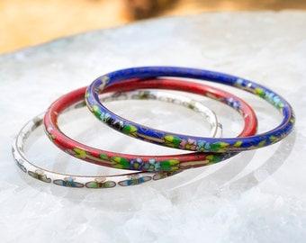 3 VINTAGE CLOISONNE Stacking Bangles Bracelets