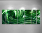 Painting on Metal green 3D effect Sculpture ocean wave modern dance contemporary original new painting hand made Wall Decor by Lubo Naydenov
