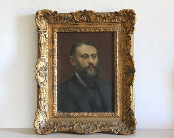 Antique French Oil Portrait Painting of a Man Signed by Artist 1900's