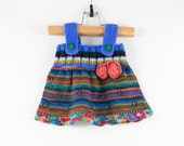 Knitted Baby Girl Dress - Blue and Pink, 3 - 6 months