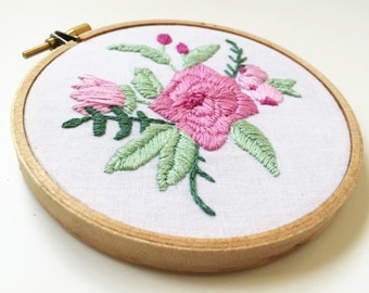 Bouquet of Flowers Hand Embroidery Mother's Day Gift for Her Embroidered Hoop Wall Art Under 50 Flower Arrangement