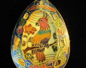 Vintage Blue Cloisonne Enamel 3-D Bird and Flower Pendant