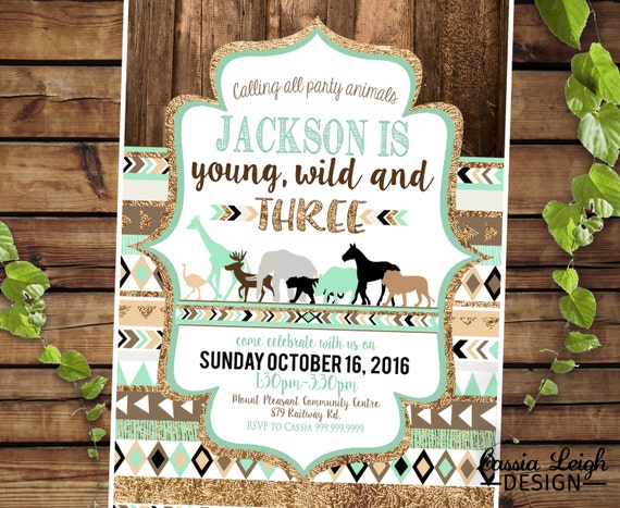 Zoo Young Wild And Three 3rd Birthday Invitations Mint Brown