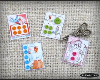 Dollhouse miniature buttons, miniature sewing room, haberdashery shop, sewing accessory