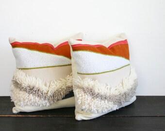 Modern Weaving Felt and Wool Textural Throw Pillow