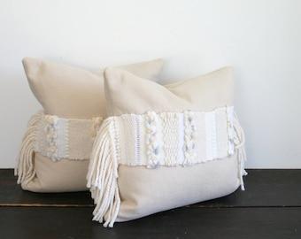 Modern Cream Weaving Textural Wool Throw Pillow