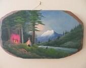 Vintage Painting Plein Air WOODLAND landscape with Fisherman /  wood slab /  11 1/4 by 19 1/2