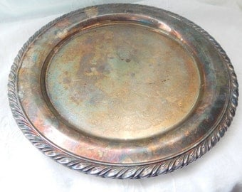 Vintage Silver Plated plate, Silver Cottage Chic Plate