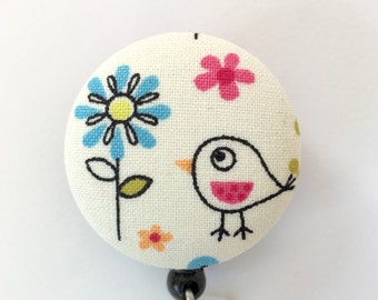 Bird Badge Reel - Bird And Flower - Badge Reel - Badge ID Holder - Retractable ID Reel - Nurse Gift - Teacher Gift - Fabric Badge Reel