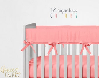 OVER 20 COLORS Crib Teething Rail Padded Covers - Solid cotton with matching ties