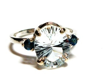 "Topaz, topaz and topaz ring, topaz accent ring,  blue white, anniversary,  s 7 1/4   ""Blue Streak"""