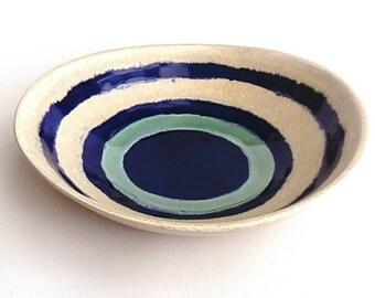Ceramic Pottery Bowl Dish: Handmade stoneware pottery indigo pool