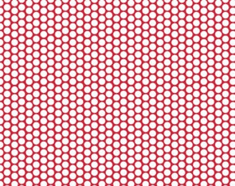 Store Closing Sale Riley Blake FLANNEL Honeycomb White on Red 1 yard