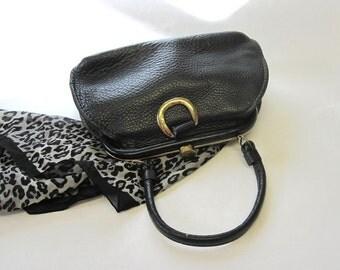 Vintage Black Handbag Doctor Bag Satchel Purse
