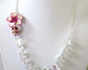Day Of The Dead Necklace Sugar Skull Iridescent Jewelry Fuschia Hibiscus
