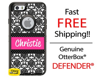 OTTERBOX DEFENDER iPhone 6 5 5S 5C 4/4S iPod Touch 5G Case Custom Black Damask Hot Pink Name Band Polka - Monogram Personalized ID