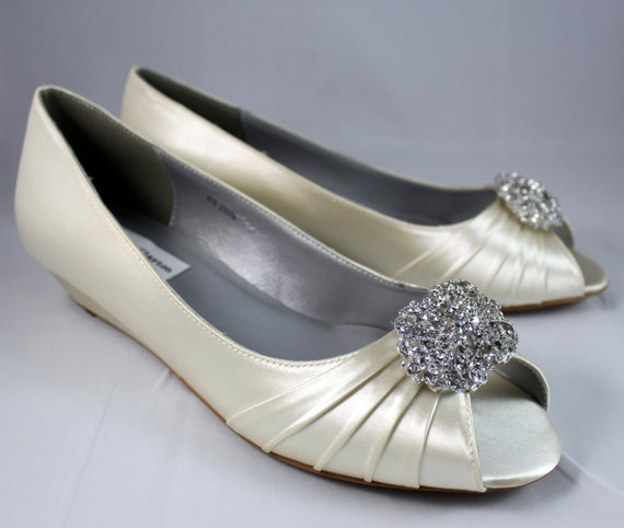Ivory Wedding Wedge Shoes Low Heel 1 Inch By TheCrystalSlipper