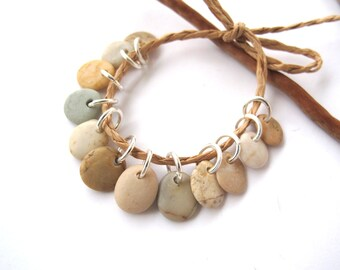 Stone Beads Small Rock Jewelry Charms Mediterranean Beach Stone River Stone Natural Stone Pairs PASTEL CHARMS 10-11 mm