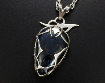 Azurite tribal tattoo silver pendant necklace, full fabricated artist jewelry, unisex necklace