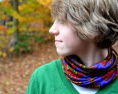 Print Infinity Scarf Lightweight Scarf Stained Glass Ascot Neck Warmer Jewel Tone Scarf hisOpal Circle Scarf Unisex Cravat Purple Brown