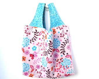 Fabric Tote Bag, Reusable Market Tote, Pink Teal, Flowers Butterflies