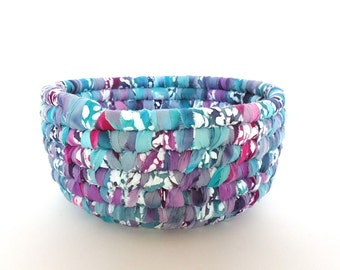 Fabric Coiled Basket, Purple Teal Magenta and Grey, Colorful Batik Fabric, Storage Basket