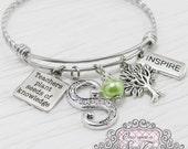 Teacher Jewelry, Bangle Bracelet- Teacher Appreciation Gift-Teachers Plant Seeds of Knowledge, Tree charm, Inspire,Charm Bracelet, charm