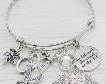 RN Graduation Gift, RN Graduate, She Believed she could so she did, Rn jewelry gifts, Bangle Bracelet-Jewelry,College Grad Gift,Nurse Gift