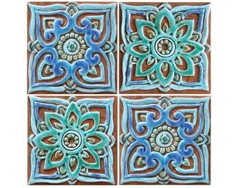 Mandala wall art, wall decor with mandala design, ceramic tiles, set of 4 wall hangings