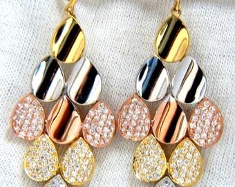 2.10ct natural diamonds modern dangle domed petal chandelier earrings