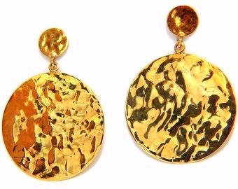 14kt Textured Rustic Bohemian Hammered Circular Plate Dangle Earrings 1.6 inch