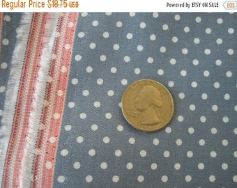 "Polka Dot Chambray fabric- 3 yards 60""W by 108""L yardage cotton Quilting Sewing Denim blue white dots woven 1/2"" selvedge"
