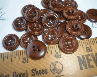 "Faux Leather Walnut Shirt Buttons 5/8"" 15MM plastic Size 24L Made USA stitched concave 4 hole sew on cool retro steampunk mid century"