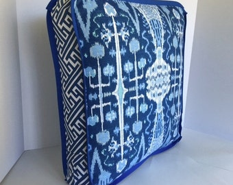 Box Pillow Cushion Covers featuring 3 Coordinating Fabrics and Flat Trim