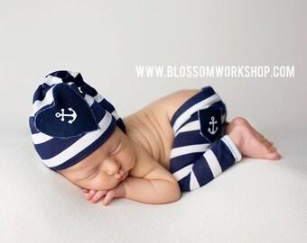 Newborn Knot Hat and Pant Set / Nautical Prop Set / Sailor Pants/ Navy Blue Stripes