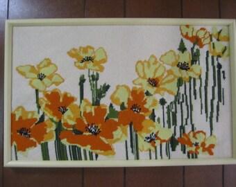 Needlework Picture Handmade Orange Yellow Green Framed Wall Art
