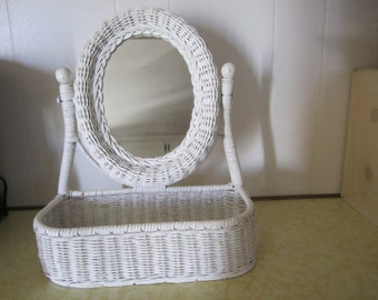 Mirror Oval Wicker Rattan Vanity Shelf Organizer Storage Makeup Holder
