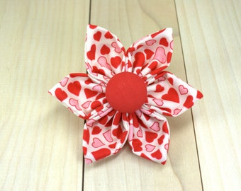 Valentines Dog Collar Flower | Pink and Red Hearts Removable Dog Collar Flower | Made to Order