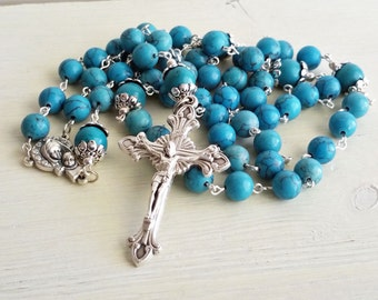 Blue Rosary Necklace, Rosary, Blue Rosary Beads, Faith Jewelry, Prayer Beads, Turquoise Rosary