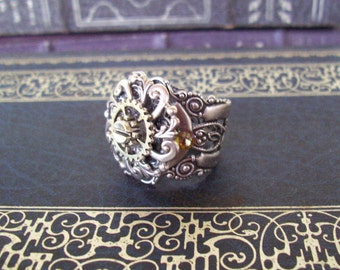 Steampunk Gear Ring(R602) Chunky Silver Oxidized Expandable Fancy Filigree Ringband Fits Sizes 12.5 thru 14, Layered Gear and Swirl Stamping
