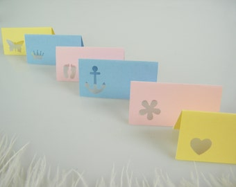 Table Name Cards / Baby Shower Decoration / SMALL Place Cards / Escort Cards / Choose your color  Pink Blue yellow / Pick Your Die Cut Shape
