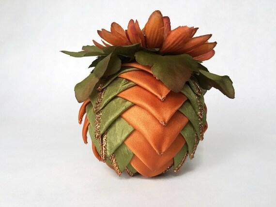 Fall Ribbon Pinecone Ornament in Green and Orange