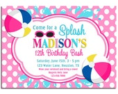 Splash Pool Party Invitation Printable or Printed with FREE SHIPPING - Pink Beach Ball Splash Party