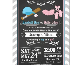 Baseball Bats or Ballet Flats Invitation Printable or Printed With FREE SHIPPING - Gender Reveal - Baseball or Tutus Collection